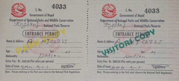 Langtang National Park Entrance Permit